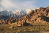 Alabama_Hills_003_04092017 - Looking towards the profile of attractive rock formations of the Alabama Hills fronting the snowy peaks of the Sierras