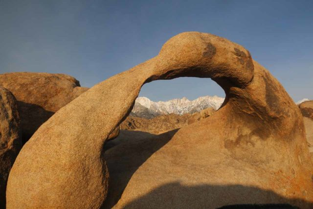 Alabama_Hills_040_04092017 - Looking through the Mobius Arch right at Mt Whitney. The arch was bathed in soft morning light