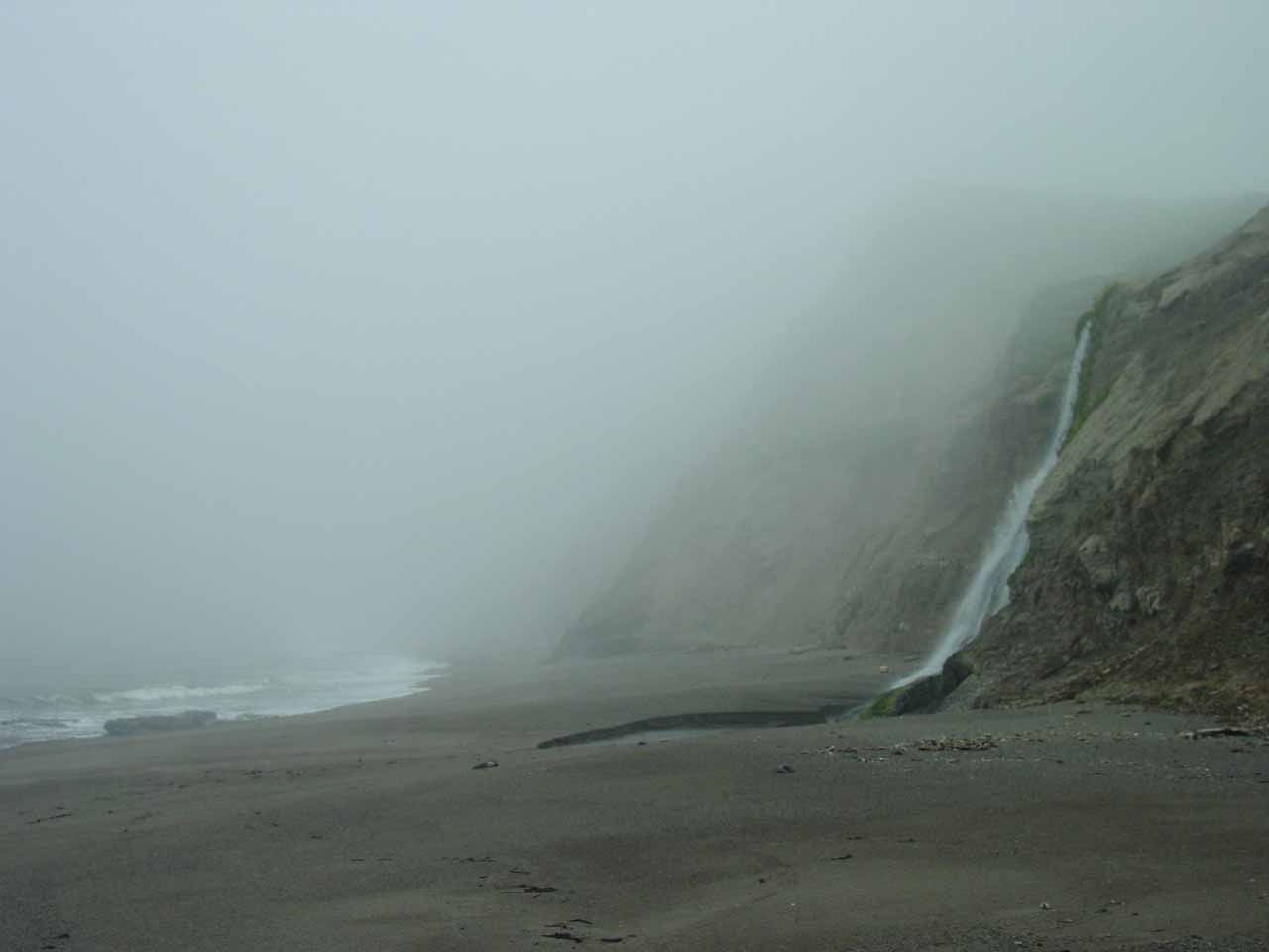 Looking back at the interplay of fog and the beach
