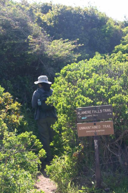 Alamere_Falls_046_04082010 - Julie starting the final scramble towards Alamere Falls after leaving the Coast Trail at this sign, which was there when we did this hike in 2010 and before