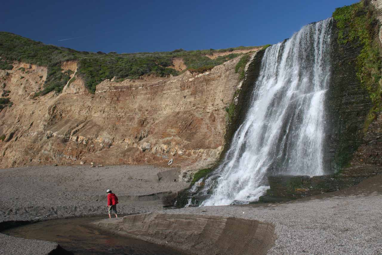 One of our most memoralbe waterfall hikes was to the beach at the base of Alamere Falls in Point Reyes, California