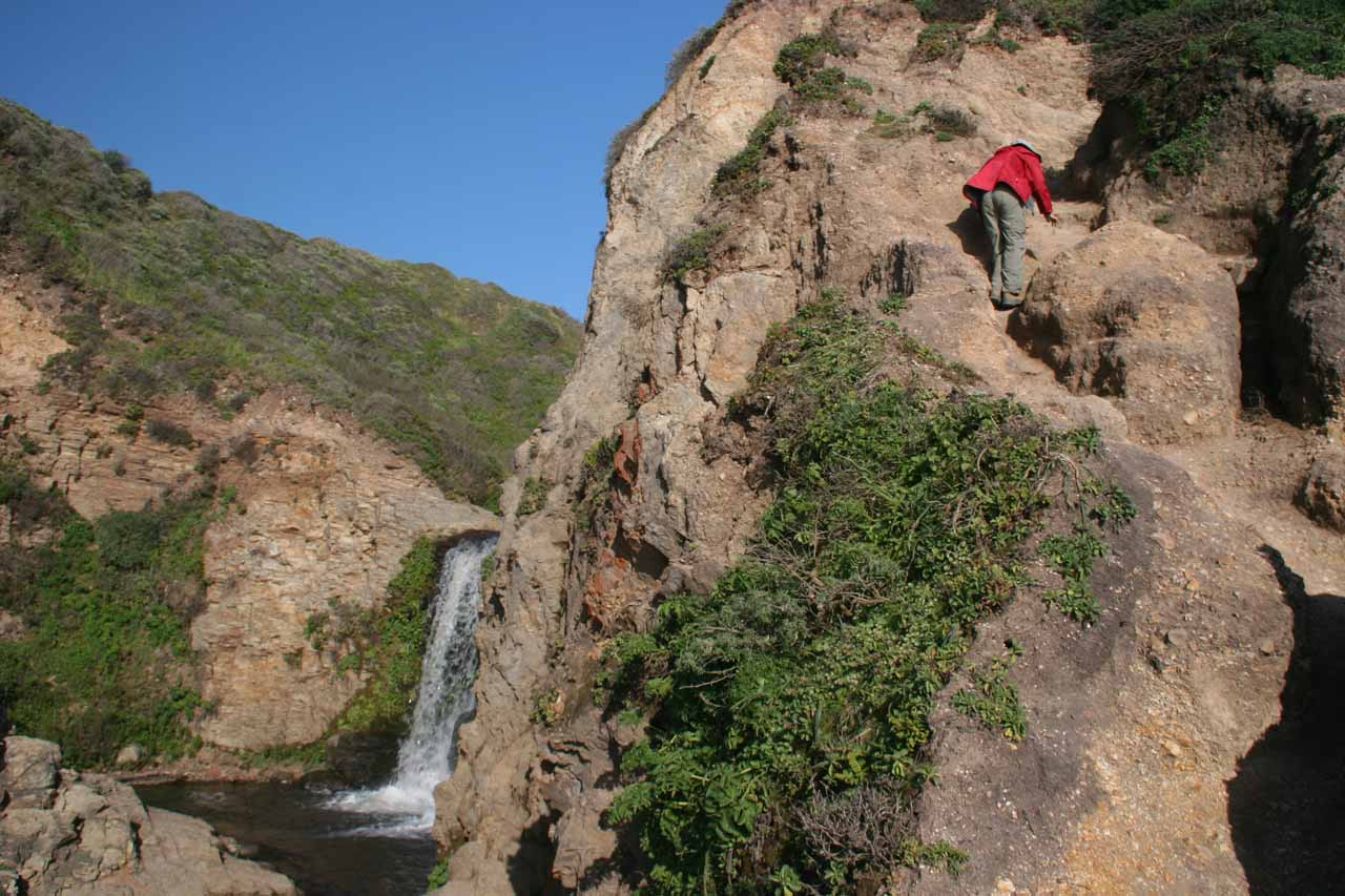 Julie scrambling to get back above the upper tiers of Alamere Falls