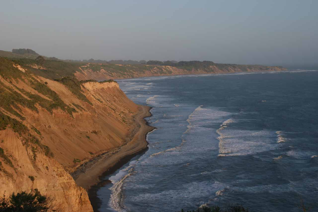 Nice afternoon glow on the cliffs and beaches along the alternate trail