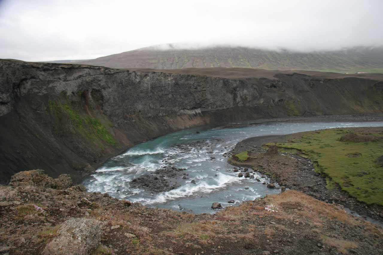 Looking downstream from Aldeyjarfoss at the curving Skjálfandafljót