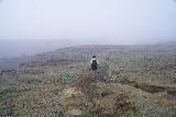 Aldeyjarfoss_014_08122021 - Mom going past some ropes towards the sanctioned lookout for Aldeyjarfoss amongst the clouds