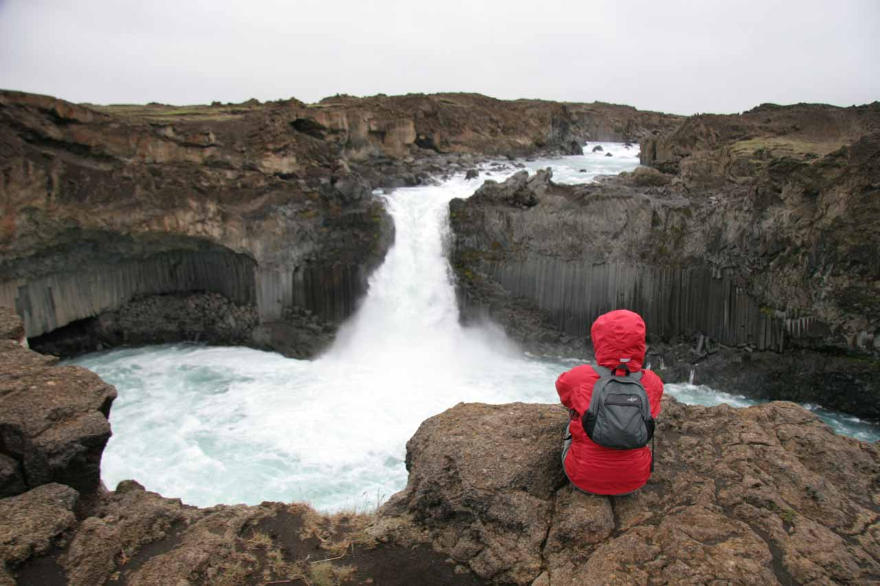 Julie checking out Aldeyjarfoss