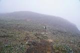 Aldeyjarfoss_044_08122021 - Mom starting to head back up the slopes towards the car park for Aldeyjarfoss as the fog was thickening