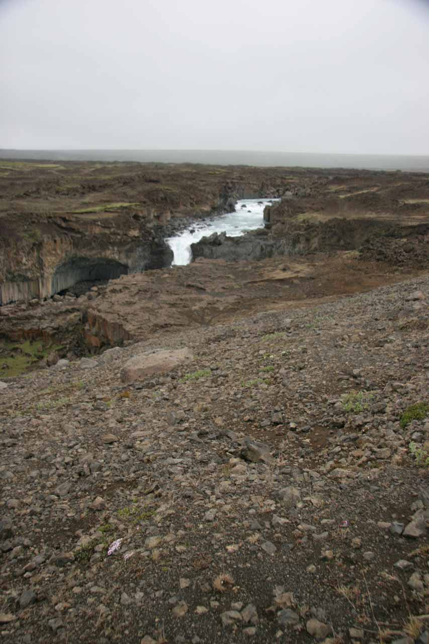 Looking down towards Aldeyjarfoss as we were starting the descent to that flat area across from the falls