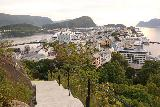 Alesund_053_07172019 - Looking down towards the rest of Alesund on the steps leading up to Fjellstua