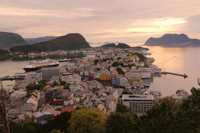 Alesund_064_07172019 - After visiting Trollstigen, we ultimately made the drive west to the coast at the town of Ålesund where we got this view from the Fjellstua just as the evening sun was setting