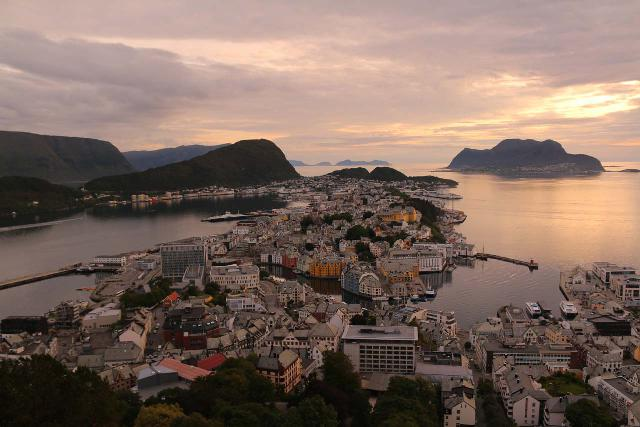 Alesund_095_07172019 - Prior to going to Geiranger on our second trip to Norway, we had driven east from the coast at the town of Ålesund where we got this view from the Fjellstua just as the evening sun was setting the night before