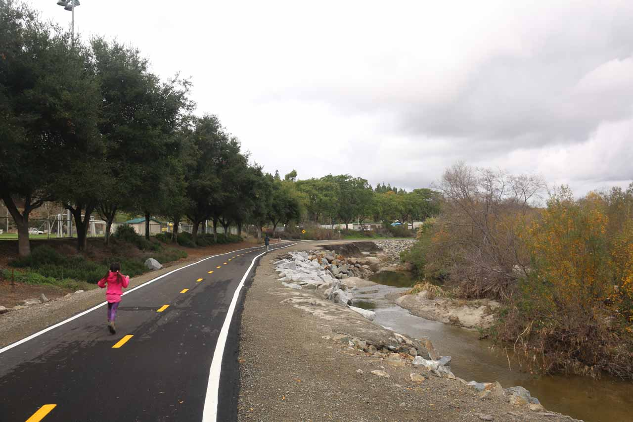After having our fill of the Aliso Viejo Waterfall, we headed back along the paved trail