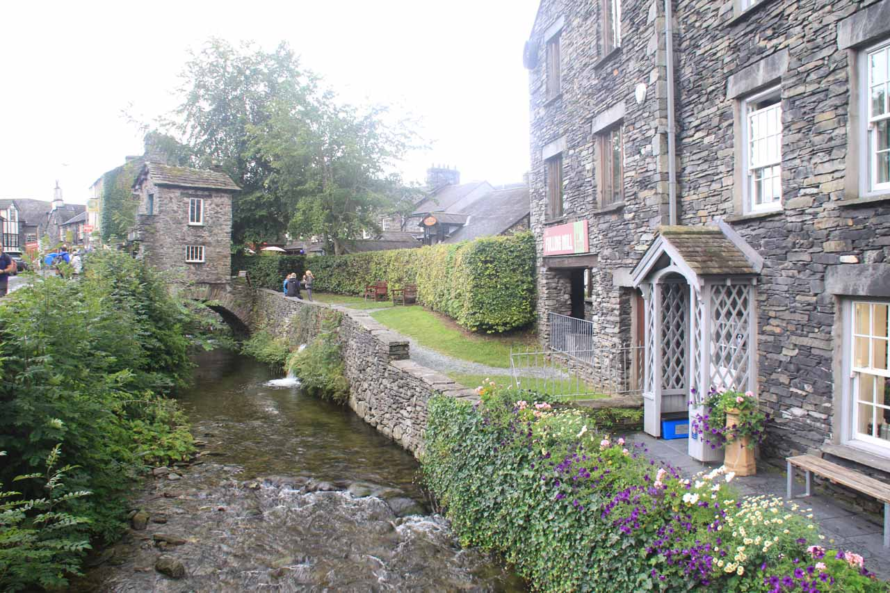 The Stock Ghyll running though Ambleside next to the outfitters we were at before the hike up to the falls