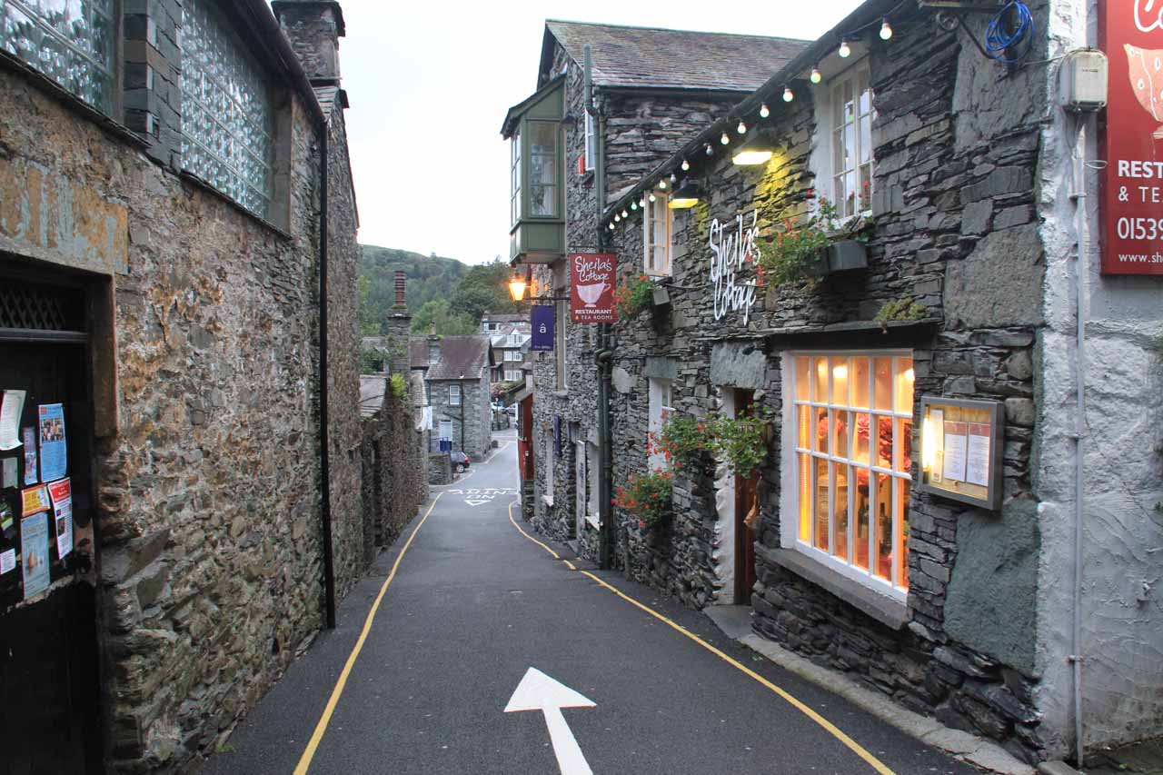 A charming little street where we had dinner at Sheila's Cottage