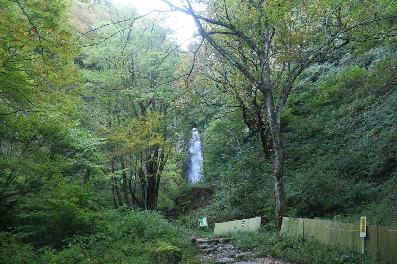 Now approaching the larger Amedaki Waterfall