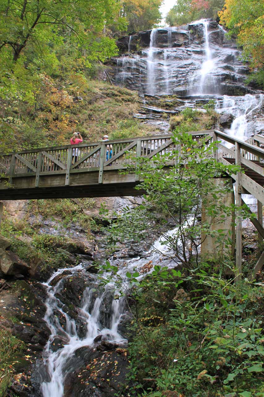 Looking up at Amicalola Falls and bridge