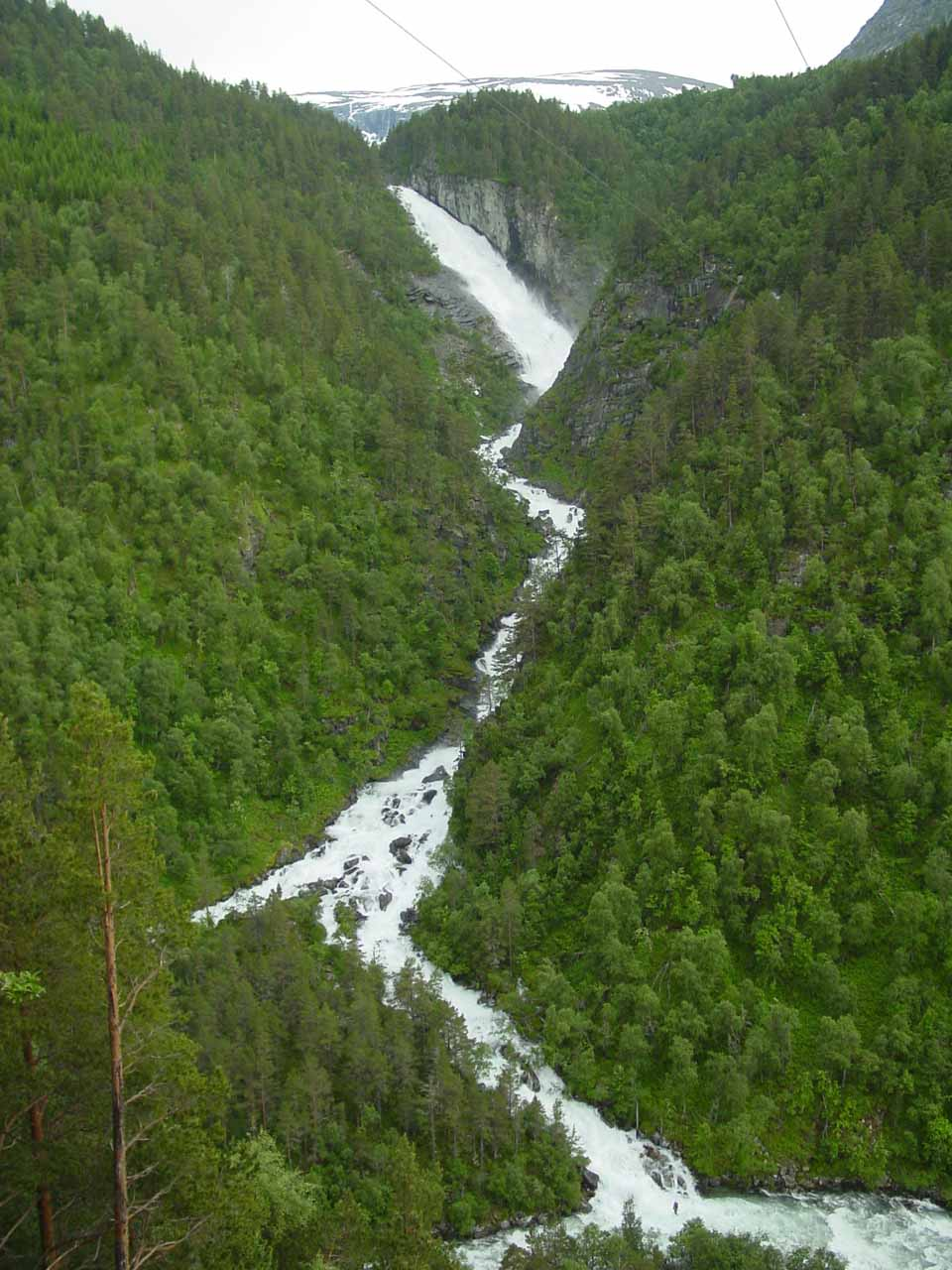 This was the full view of the cascading Reppdalsfossen beneath some power lines as I was hiking towards Svøufossen