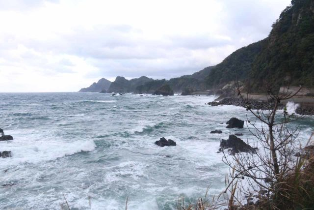 Anami_Coast_012_10222016 - East of Tottori was the impressive northern coastal scenery of the Anami Coast, where we could see the Sea of Japan eroding away at some eccentric lava and rock formations