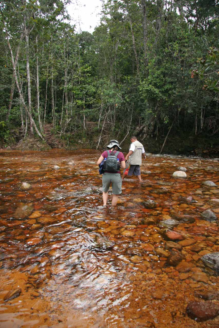 Crossing a stream before starting the hike in earnest