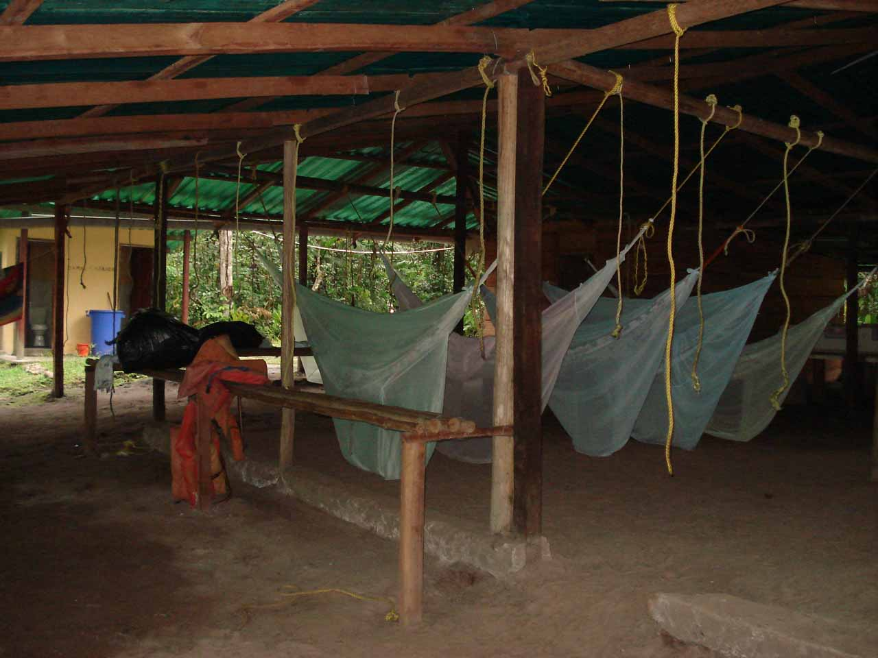 Yep, we had to sleep in hammocks with mosquito nets