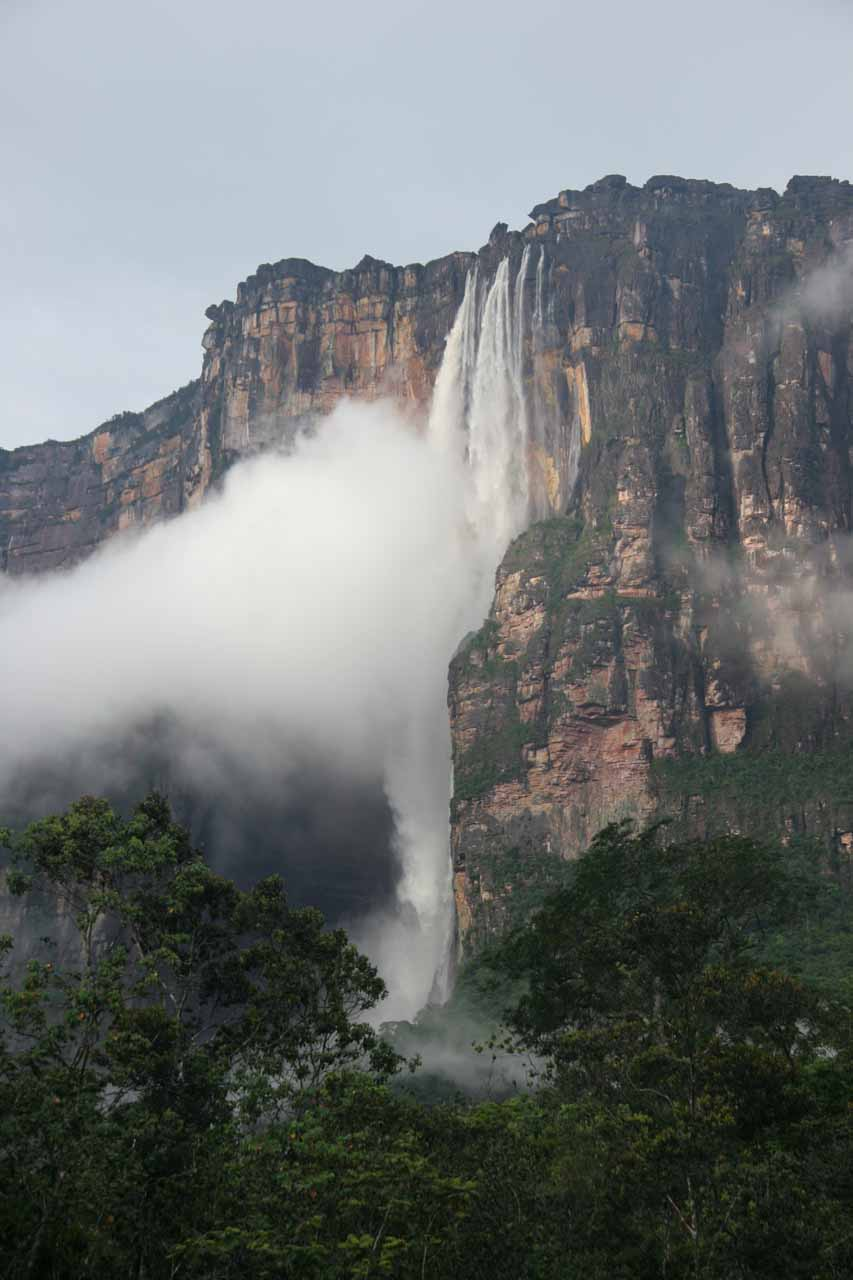 Closeup of Angel Falls in high flow