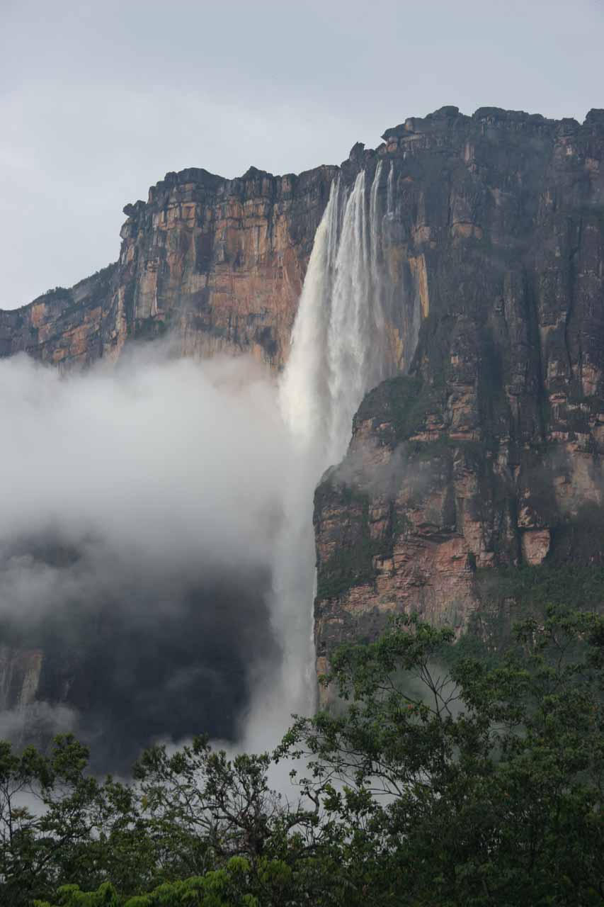 Focused on the main plunge of Angel Falls