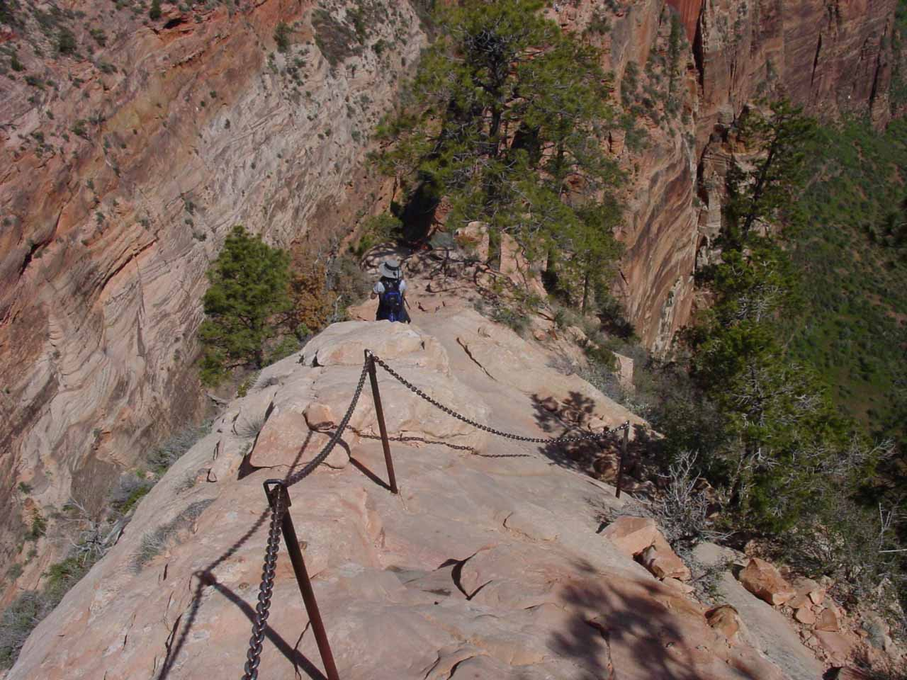 Descending from the summit of Angels Landing