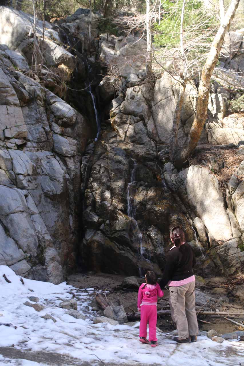 Mom and Tahia enjoying the Middle Control Road Falls or Cold Creek Falls