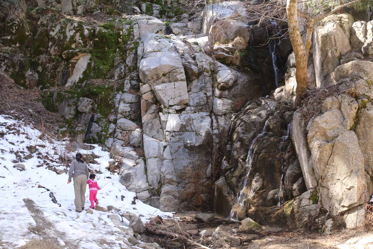 Julie and Tahia walking on the patch of snow by Cold Creek Falls