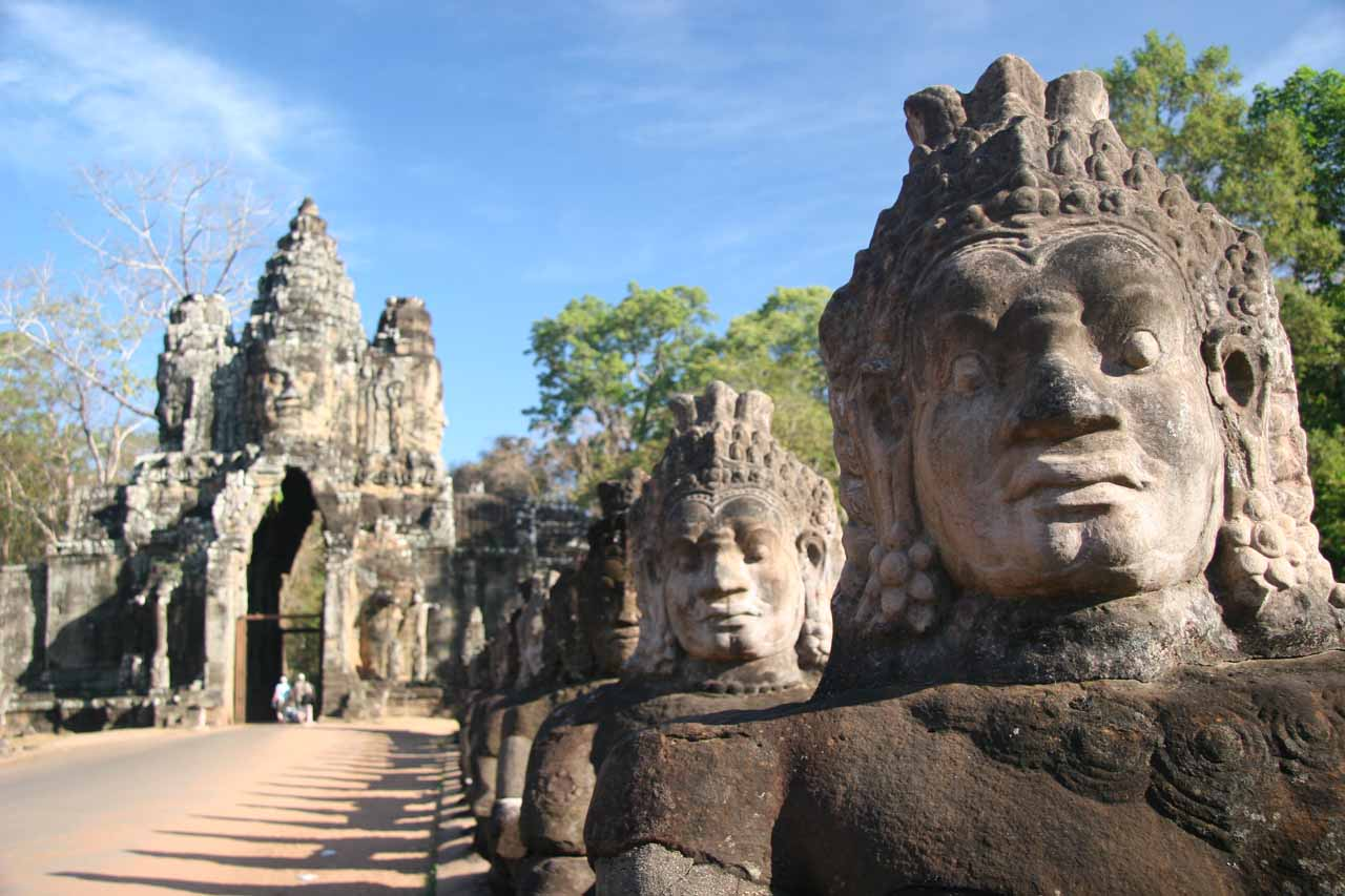 Lots of faces before the Bayon Gate of Angkor Thom