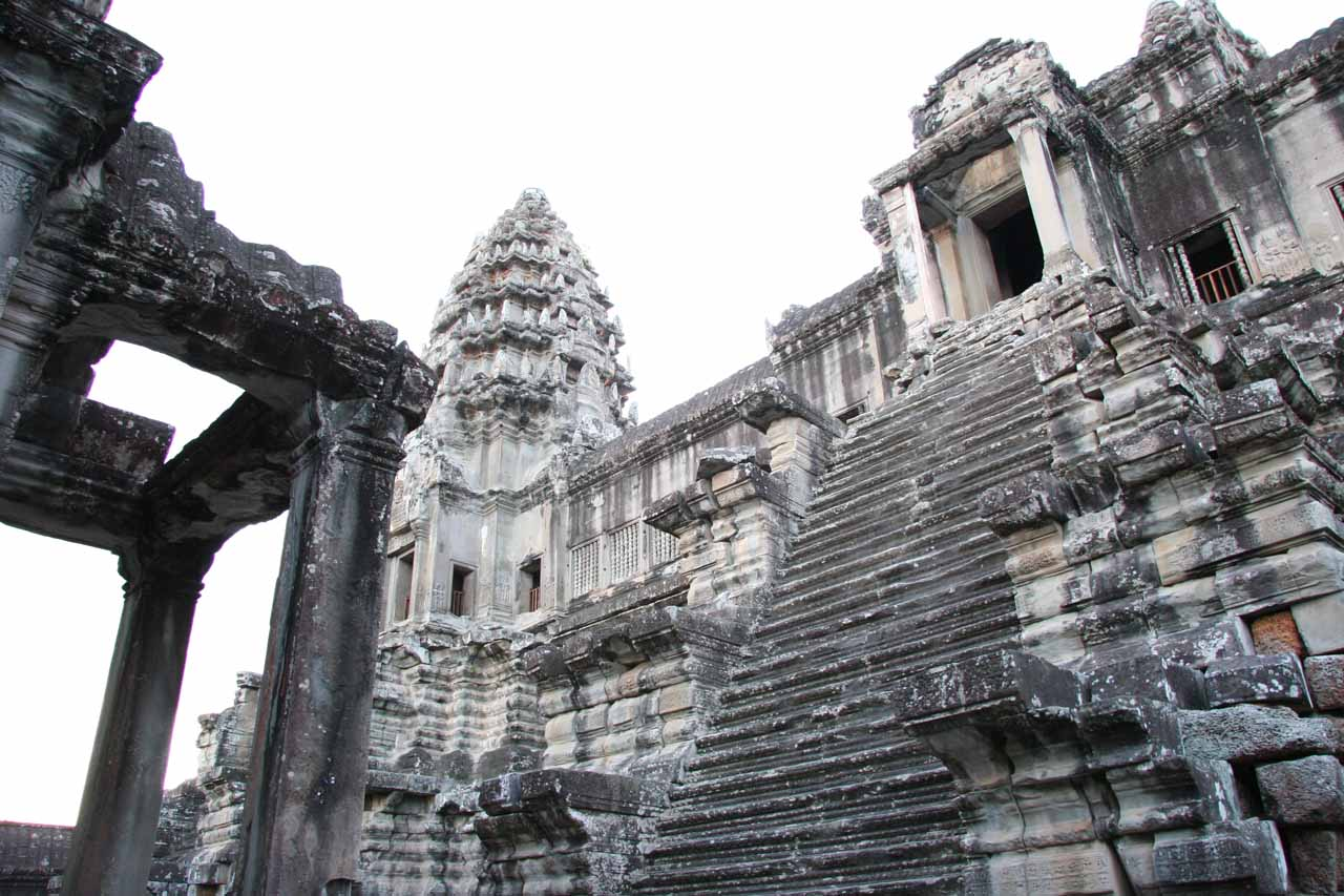 Within the stone structures of Angkor Wat