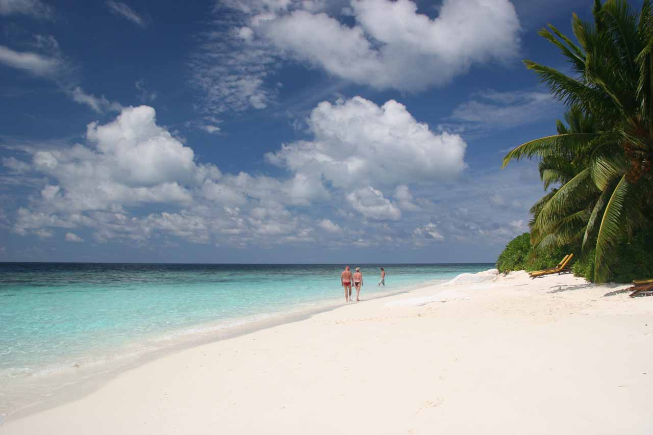 The white sand beach at our atoll