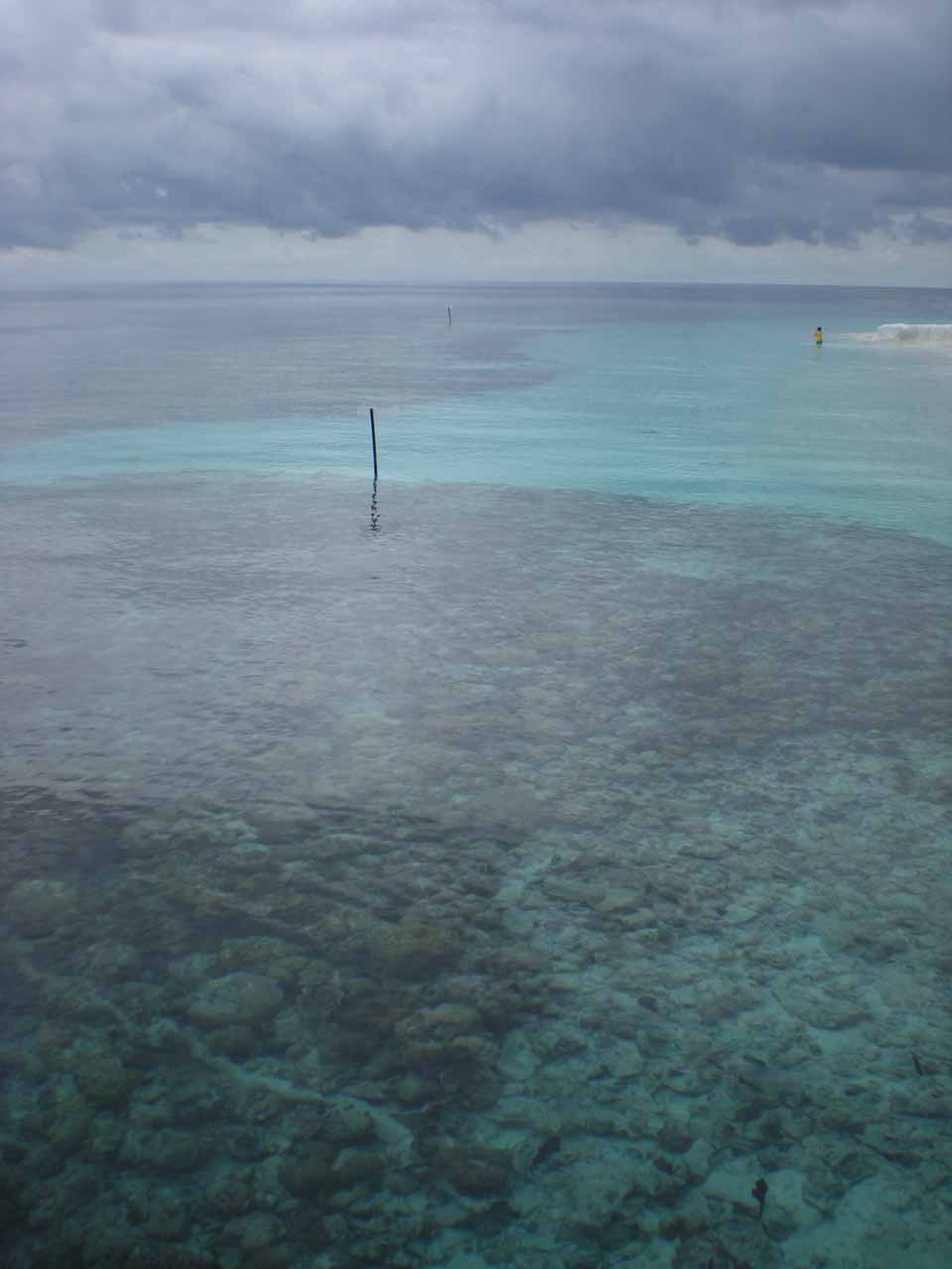 The view out towards the reef under the cloudy skies from the Angsana