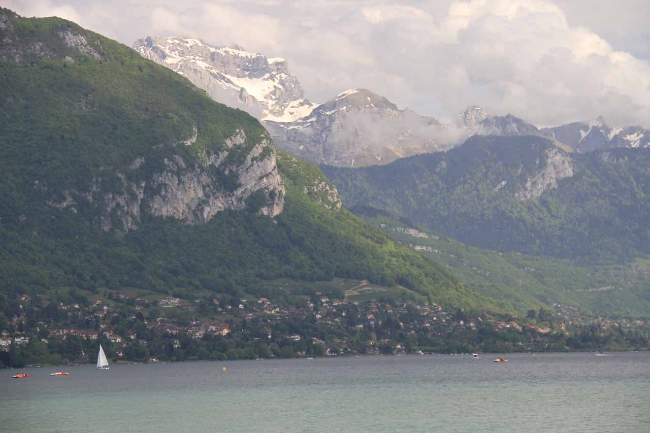 View of Lake Annecy and the mountains over its southeastern banks on the route to the trailhead from Old Annecy