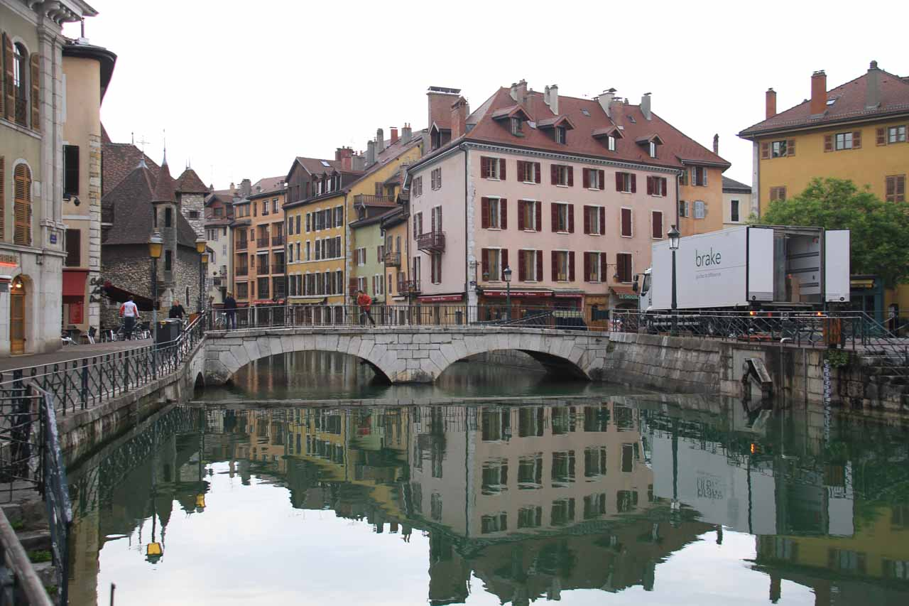 Here is one of the entrances to Old Annecy, whose canals drain the mountain-fringed Lake Annecy