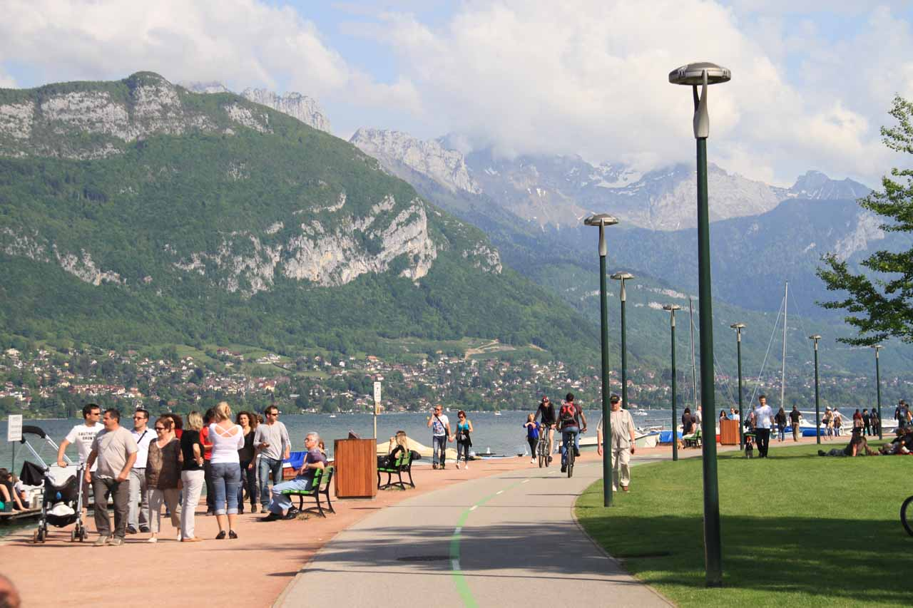 The walkway around Lake Annecy looking in the direction of where Cascade d'Angon was tucked away