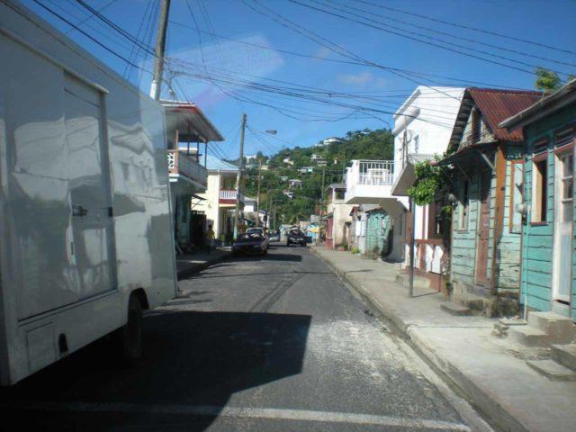 Anse_La_Raye_001_jx_11282008 - Driving the narrow streets of Anse La Raye on our way to the Anse La Raye Falls