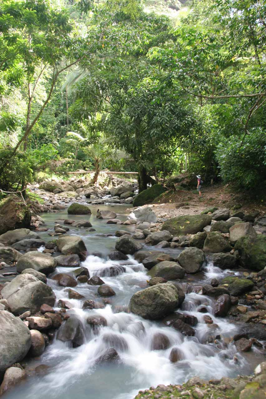 About to cross the stream in front of Anse La Raye Falls