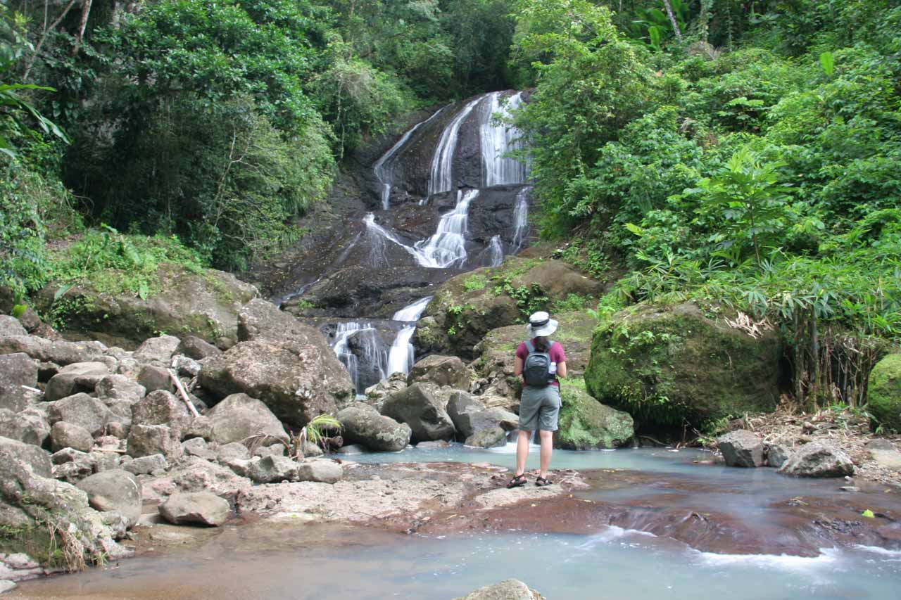 Julie checks out Anse La Raye Falls