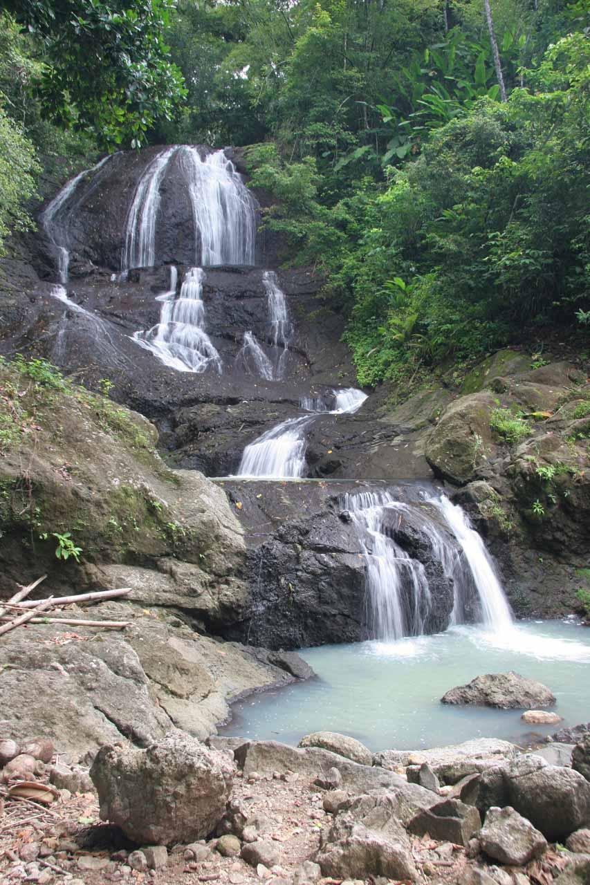 Angled view of Anse La Raye Falls