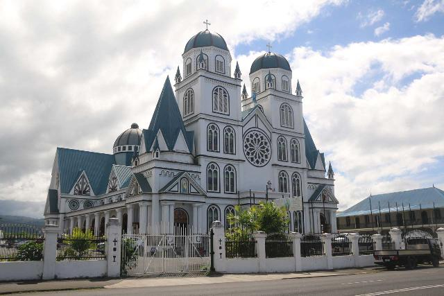 Apia_043_11122019 - The city of Apia was the main center of Western Samoa, and it featured some interesting history. Some of this history was manifested in elaborate religious structures like the Immaculate Conception Cathedral shown here