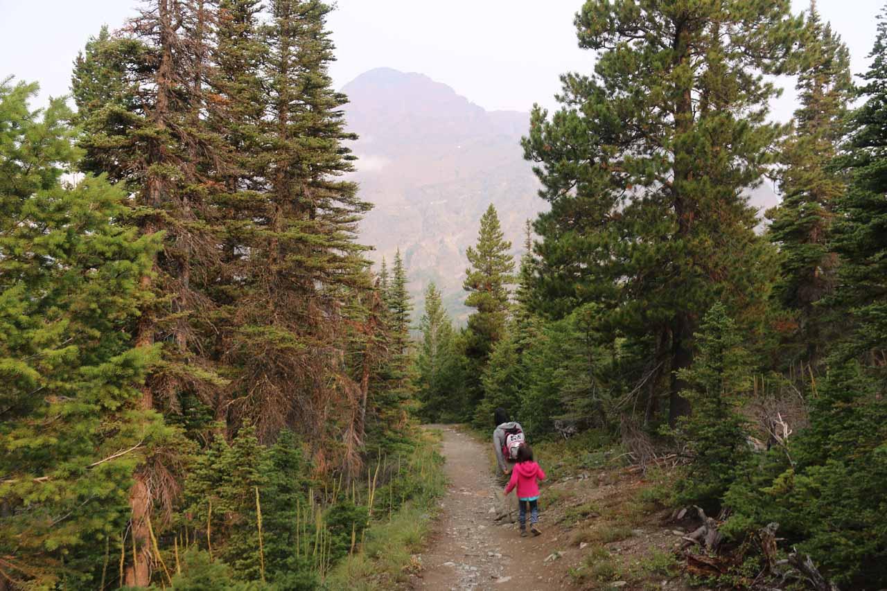 Julie and Tahia hiking back down to the trailhead parking