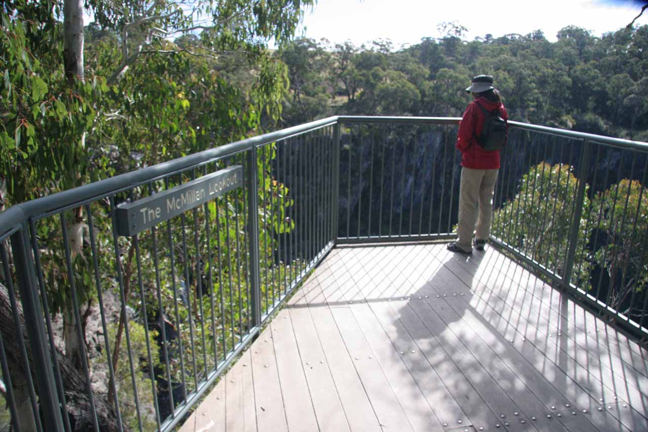 Julie checking out Apsley Falls from the McMillans Lookout