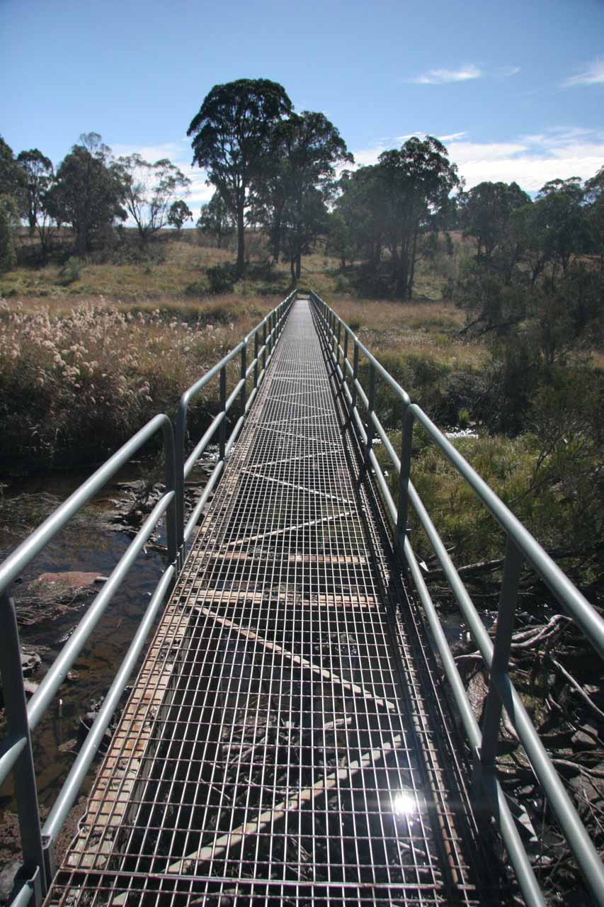 Crossing the metal bridge traversing the Apsley River