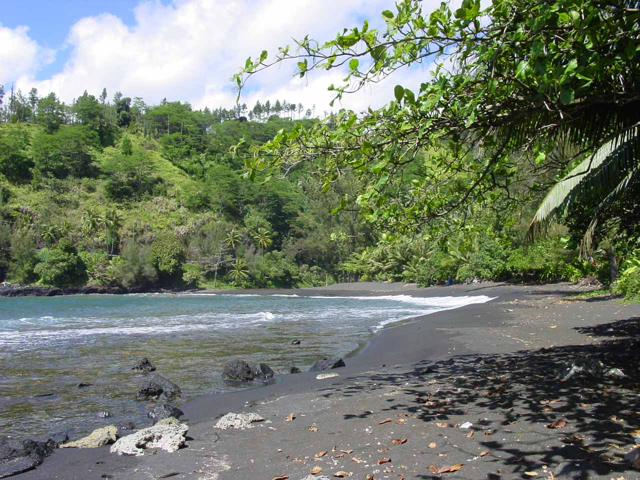 The black sand beach near Arahoho Blowhole