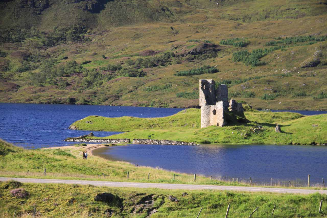 Just 4.1 miles south of the trailhead of the difficult hike to Eas a' Chual Aluinn (or about 8 miles south of Kylesku) was the beautifully-situated Ardvreck Castle