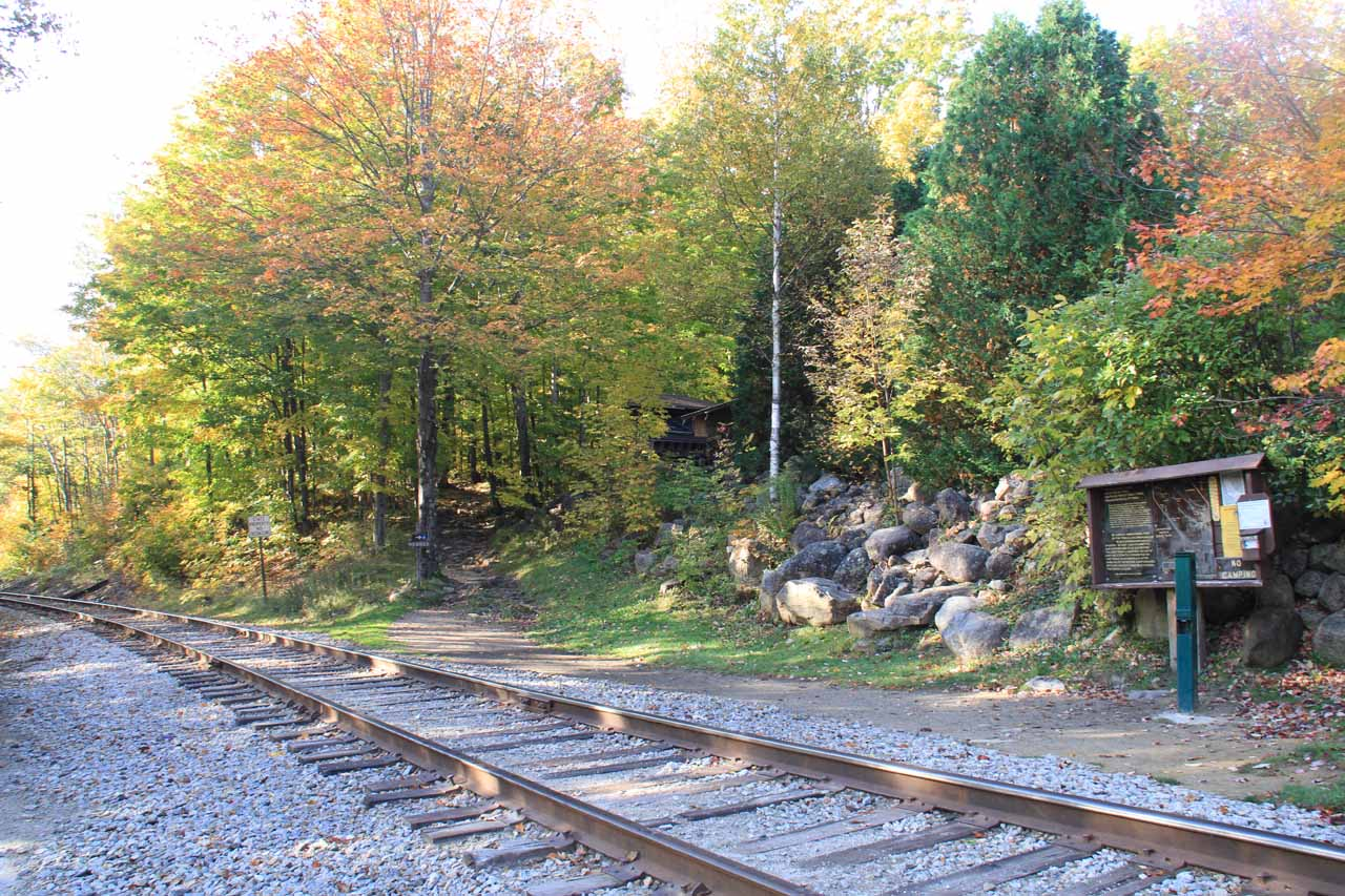 The trail to Arethusa Falls continued on the other side of the railroad tracks by the car park