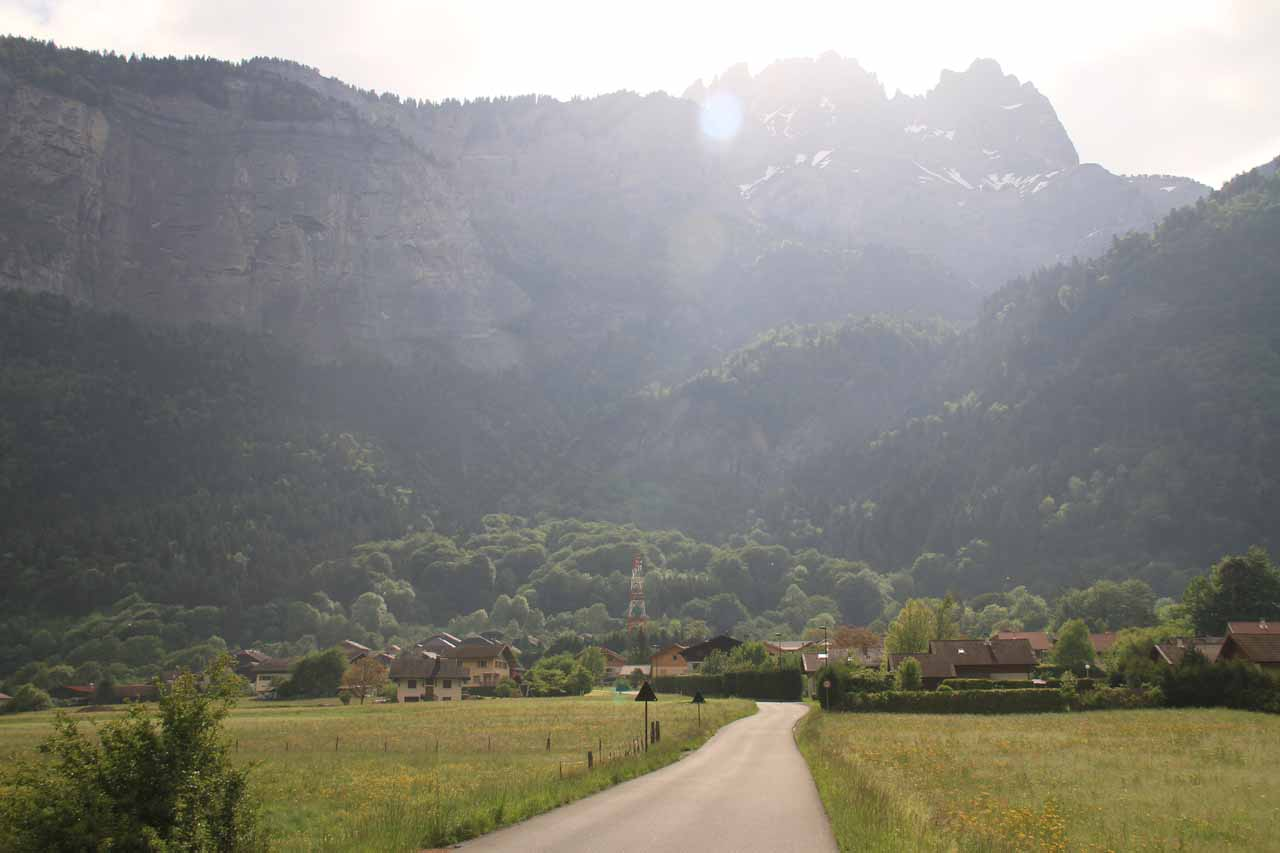 The local road to the village of Luzier near Cascade d'Arpenaz