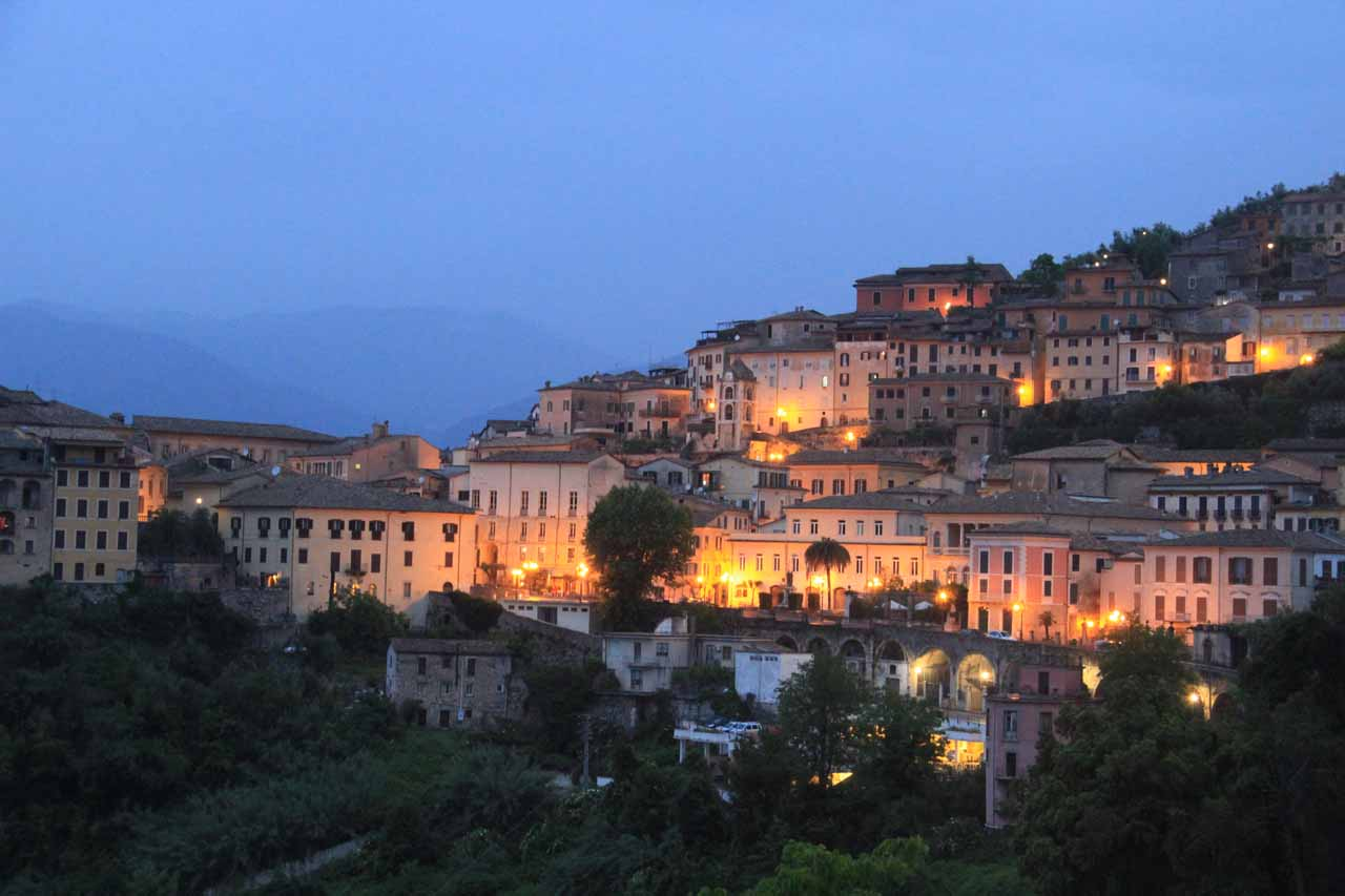 Twilight in the charming town of Arpino, which was about 15-20 minutes drive up the hill from Isola del Liri and the Cascate del Liri