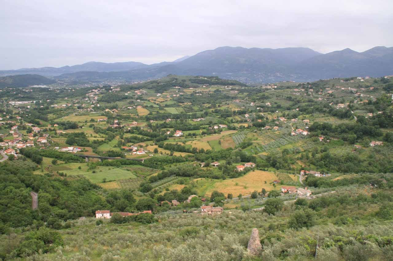 Looking out towards the farms and hillsides below Arpino from the promenade